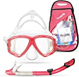 PRODIVE Premium Dry Top Snorkel Set - Impact Resistant Tempered Glass Diving Mask, Watertight and...