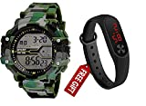 Dial Color: Black, Band Color: Green,Watch Movement Type: Digital Best gift For kids For Ever for nice gift Combo Movement: Light Power Watch for Boys, Digital watch Classic Business Casual Design 6 month Manufacture warranty