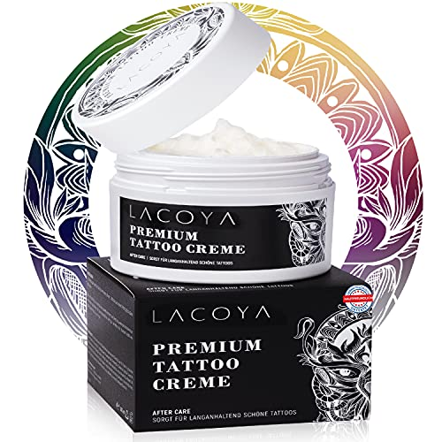 LACOYA Tattoo Creme - Premium Tattoo Butter 250ml - Frisches Tattoo Pflegecreme - 100% Vegan Brightening Balm beschleunigt die Heilung - Skin Med Tattoo Pflege - Made in...