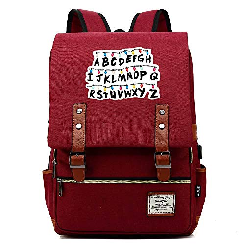 Unisex Business Laptop Backpack College Student School Bag Travel Rucksack Daypack with USB Charging Port (One_Size, Red)