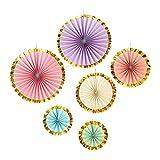 Decoraciones colgantes de papel con ribete dorado para fiestas de helado, cumpleaños de unicornio y princesa, ducha y más (6 unidades)
