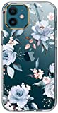 LUOLNH iPhone 12 Case,iPhone 12 Pro Case with Flowers,for Girly Women,Shockproof Floral Pattern Hard Back Cover for Phone Case 6.1 inch 2020-Blue