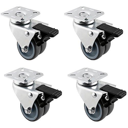 HAUSEE 4 Stücke Lenkrollen mit Bremse Transportrollen 50 mm Doppelrollen Strandkorbrollen Schwerlastrollen Tragkraft von 200kg aus TPR Material (4 Bremse)