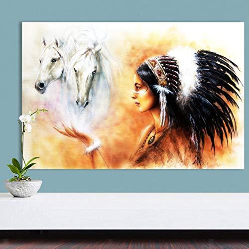 ganlanshu Modernes indisches Schönheitsbild und Druckwandplakat Wohnzimmerhauptdekoration rahmenloses Gemälde 60cmX90cm