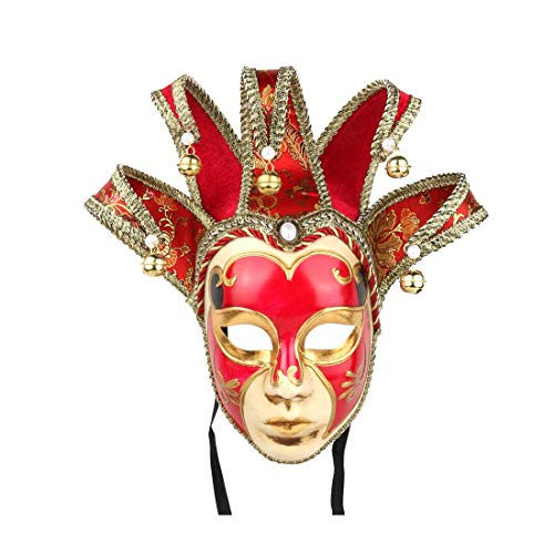 YUFENG Dipinto a Mano Full Face giullare Jolly Joker Veneziano da Parete Maschera Carnevale Costume a ventaglio Maschera Sandali Adventure Seeker, Punta Chiusa - T - Bambini