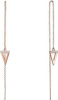 SWEETIEE Mujer Pendientes Largos De Plata 925, con colgante de triángulo Micro Pave AAA Zirconia, platino, dorado rosa, 2colores disponibles), 135mm