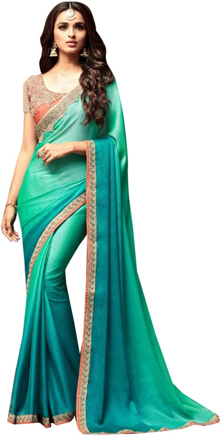 bluee Green colord Designer Cocktail Party wear Indian Women Silk Saree Blouse 7477