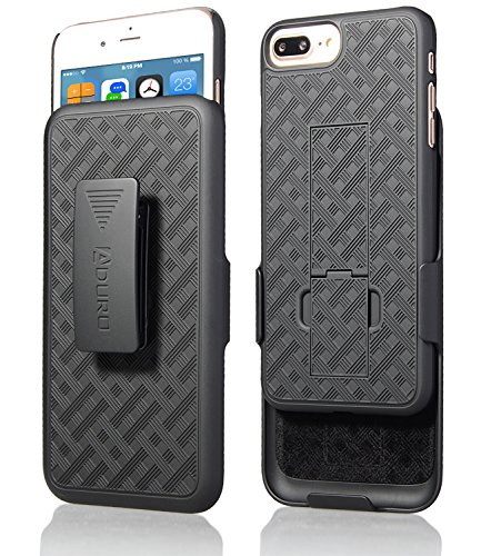 "Aduro Holster Case for iPhone 8 Plus/iPhone 7 Plus (5.5"") Combo Shell & Holster Slim Shell Case with Built-in Kickstand + Swivel Belt Clip Holster for Apple iPhone 8 Plus and iPhone 7 Plus ONLY"