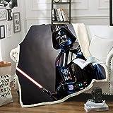 HLSM - Manta doble para adultos y niños, diseño de Star Wars, ideal como regalo para niños (A1,150 x 200 cm)