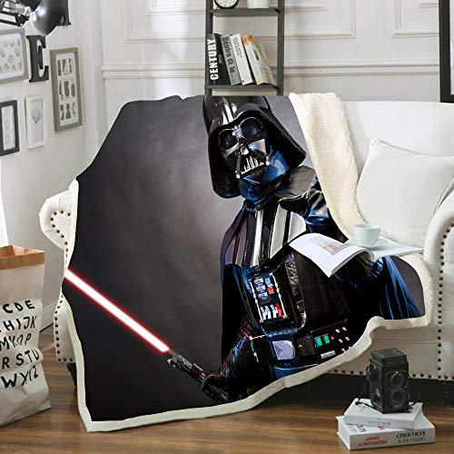 HLSM Manta de sherpa 3D Star Wars y a cuadros, manta doble para adultos y niños, cálida para el ocio, sofá, silla, manta suave, gran regalo para niños (A1,150 x 200 cm)
