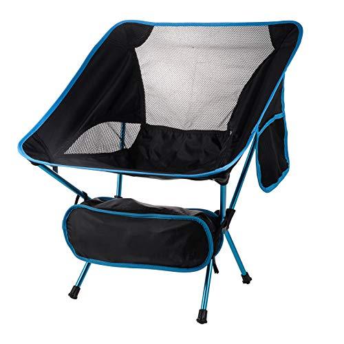 Sedia da campeggio portatile compatta, ultraleggera, pieghevole, resistente, 150 kg, piccola sedia con borsa per il trasporto per pesca all'aperto, escursionismo, spiaggia