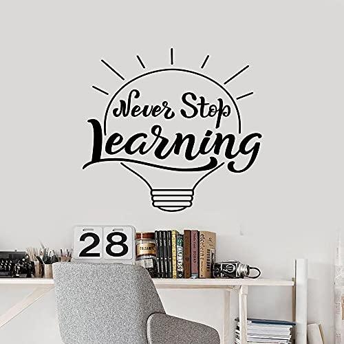 Zdklfm69 Adhesivos Pared Pegatinas de Pared DIY Never Stop Learning Vinilo artístico extraíble para decoración de Habitaciones de niños calcomanía artística de Vinilo 43x47cm