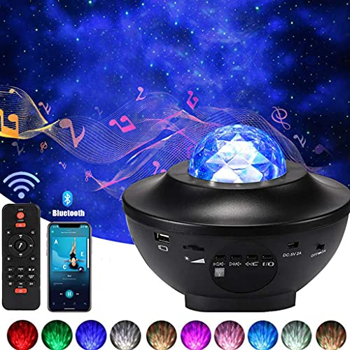 Proyector de luz estrellada con altavoz Bluetooth Lámpara musical con mando a distancia, 21 modos de color luz giratoria y niebla, regulable, lámpara proyector océano para niños y adultos