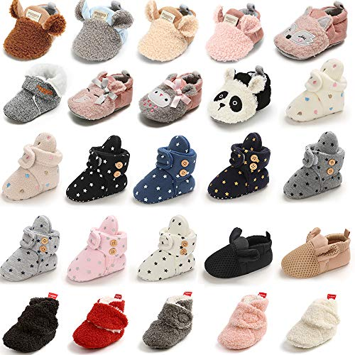 E-FAK Newborn Baby Cozy Fleece Booties with Grippers Winter Slippers Socks Soft Sole Stay On Infant First Walker Crib Shoes(03 White Panda, 6-12Months)