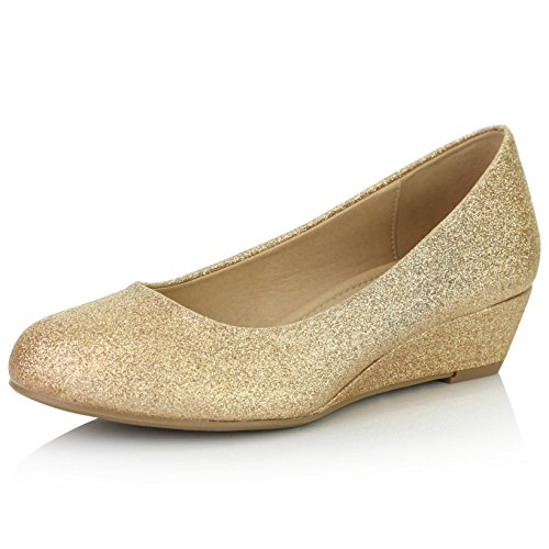 DailyShoes Women's Low Wedge Closed Round Toe Heel Wedges Pumps Shoes Wide Width Comfortable Dress Fashion Heels Core-01 Gold Gl 11