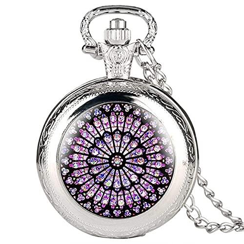 XXCHUIJU Reloj de bolsillo, con cristales de cristal de color rosa y catedral de Notre Dame De Paris, símbolo de la herencia cultural de París, coleccionables (color plateado)