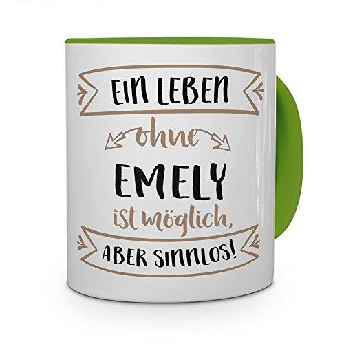 printplanet® Tasse mit Namen Emely - Motiv Sinnlos - Namenstasse, Kaffeebecher, Mug, Becher, Kaffeetasse - Farbe Grün