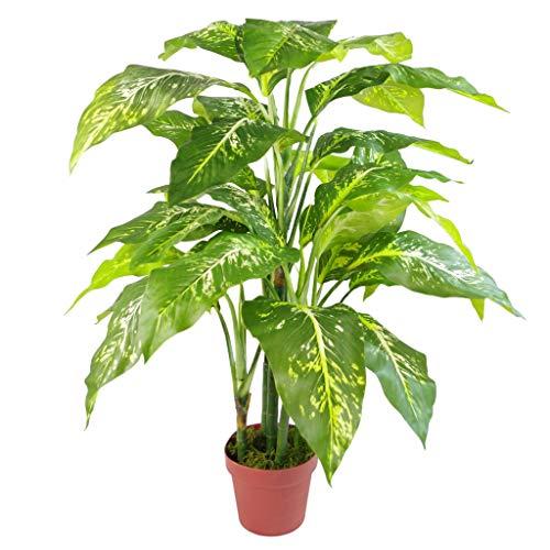 Leaf Kunstpflanze mit Blättern, einfarbig, Kunststoff