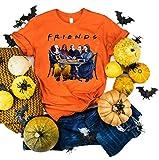 Women Friends Halloween T-Shirt Stephen King Horror Movies Characters Graphic Tees Jason Squad Halloween Horror Shirt (L, Orange)