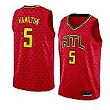 Camiseta de Baloncesto para Hombre NBA Atlanta Hawks 5# Daniel Hamilton Cómodo/Ligero/Transpirable Malla Bordada Swing Swing Sworing Sweatshirt,M