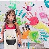 INSANYJ 2 Stück Schürze Kinder mit Tasche, Wasserdicht Kinderschürze für Jungen Mädchen, Verstellbare Kochschürze/Küchenschürze für Basteln Bemalen Backen Kochen (Schürzen schwarz, grau7-13 Jahre) - 5