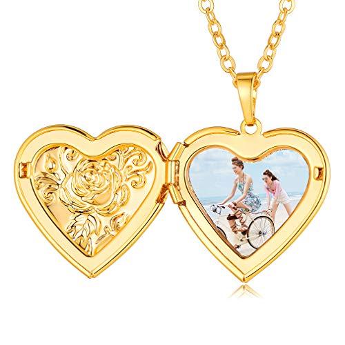 Custom4U Colgante Cobre Oro Amarillo 18K Corazón Amor Guardapelo Conmemorativo Fotografía Personalizada Regalo de Mujeres Muchachas Flores Relieves