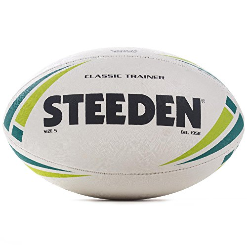 Steeden Classic Trainer Pallone da Rugby League Training Bianco, White/Teal, 3