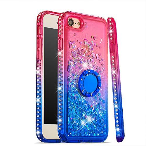 CrazyLemon Hülle for iPhone 7 iPhone 8, Glänzend Funkelnd Treibsand & Voll Side Strass Design Pink + Blau Weich Silikon TPU Handyhülle mit Ringhalter