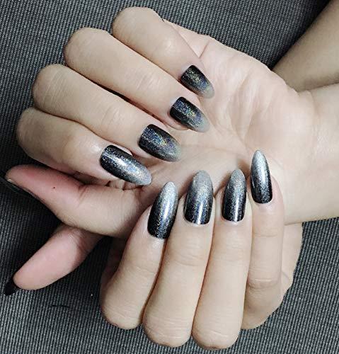 Stiletto False Nails Rainbow Chrome Nails Reflective Mirror Effect Nails Glitter Dark Gradient to Silver Design Artificial Nail Art 24PCS