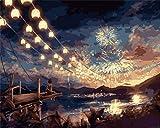 Pintura por números pintura al óleo pintada a mano de bricolaje set de fuegos artificiales sobre lienzo pintura por números para decoración del hogar para adultos, niños, principiantes - 40 x 50