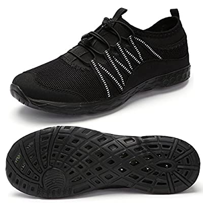 Aqua Water Shoes Quick Drying Water Sports Shoes-Barefoot Skin Shoes for Run Dive Surf Yoga Swim Beach for Men All Black 46 EU
