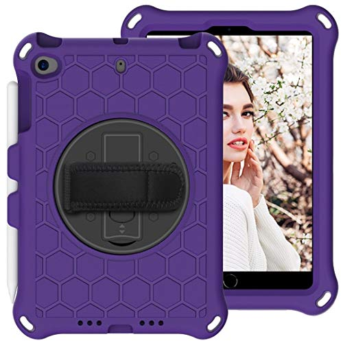 Tablet Protective Case For Kids Case for iPad Mini 5 4 3 2 1, Lightweight and Full-Body Shockproof EVA Case Cover with Built-in Foldable Kickstand and Grip Handle Rugged Heavy Duty Shockproof Rotating