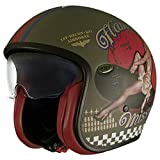 Premier Casco de moto NC VINTAGE EVO PIN UP MILITARY MAT, Kaki, L