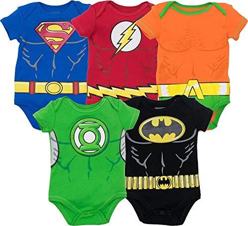 Warner Bros. Justice League Baby Boys' 5 Pack Superhero Bodysuits Multicolored 3-6 Months