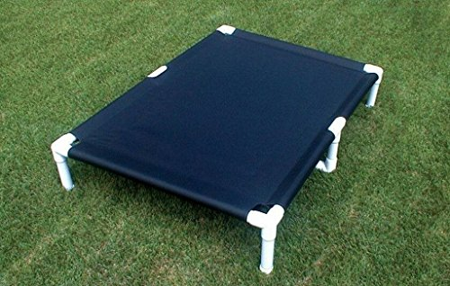 Dianes K9 Creations Inc. XX Large Dog Cot, Dogs Up to 200 Pounds Size 39'x56'x10' Beds for Large Dogs, Pipe Bed, Color Black Canvas