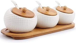 Sywlwxkq Pot à épices en Porcelaine à Condiments avec couvercles - Bouchon en Bambou, cuillère de Service en céramique, Pl...