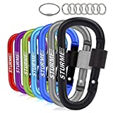 """STURME Carabiner Clip 3"""" Aluminum D-Ring Locking Durable Strong and Light Large Carabiners Clip Set for Outdoor Camping Screw Gate Lock Hooks Spring Link Improved Design Pack (Assorted 7 Pcs)"""