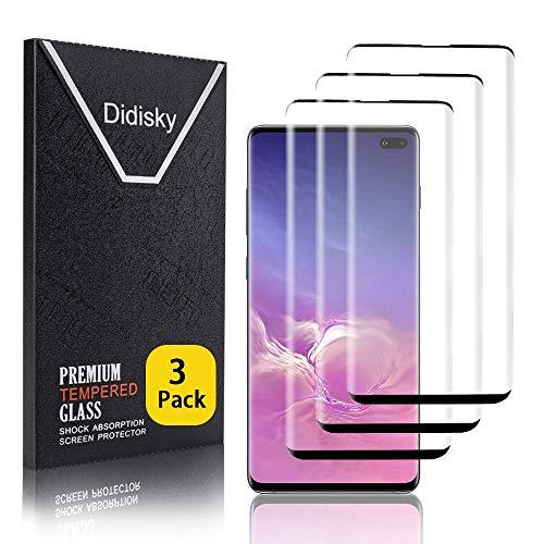 Didisky 3D Vetro Temperato per Samsung Galaxy S10 Plus, [3 Pezzi] Pellicola Protettiva Copre Assolutamente Lo Schermo, Compatibile con la Cover, Trasparente (Nero)