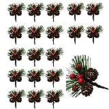 Wenlai 20 Pezzi Plettri di Pino Artificiali, Berry Pinecones Aghi di Pino, Bastoncini Artificiali Bacche di Natale, Rami di Pino Artificiale, per Decorazioni da tavola per Feste di Natale in Giardino