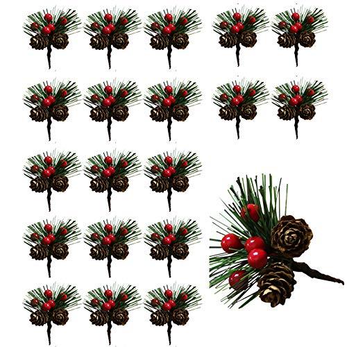 20 Piezas Púas de Pino Artificiales, Decoración de árbol de Navidad Piñas Pequeñas de Bayas Falsas, Berry Pinecones Agujas de Pino Tallos, para Arreglos Florales de Navidad y Decoraciones Navideñas