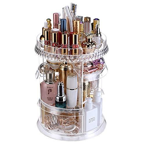 Ogrmar Adjustable 360 Degree Rotating Makeup Organizer Tray/Large Capacity Cosmetics Carousel Storage Rack Fits Toner, Creams, Makeup Brushes, Lipsticks and More (Transparent)