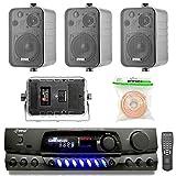 Pyle PT260A 200-Watt 2-Channel Digital AM/FM Radio Stereo Amplifier Receiver, Bundle Combo with 4X Enrock EKMR408B 4' Inch 200-Watt 3-Way Black Box Speakers + 50 Feet 18-Gauge Speaker Wire