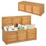 RELAX4LIFE Gartenbox aus Massivholz, Gartentruhe mit Stauraum, Auflagenbox mit Deckel & Atmungsaktivem Design, Kissenbox mit Belastbarkeit bis zu 150 kg, Aufbewahrungsbox Garten Outdoor Indoor, Natur