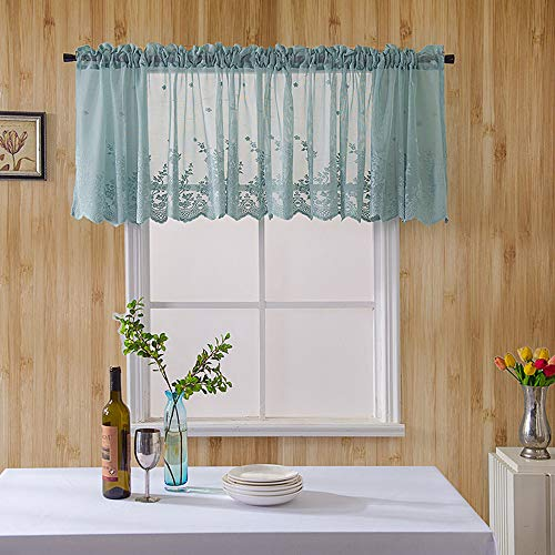 Floral Lace Cafe Curtain Embroidery Semi Sheer Lace Window Valance Kitchen Curtains Elegant Beautiful Dining Room Window Decor 51-inch by 16-inch, Blue