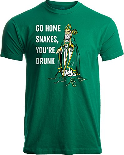 Go Home Snakes, You're Drunk | Funny St. Patrick Paddy's Day Irish Pride T-Shirt-(Adult,2XL)