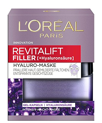 L'Oréal Paris Hyaluro-Maske, Revitalift Filler, Anti-Aging Gesichtsmaske, Anti-Falten und Volumen, Gel-Kapseln mit Hyaluronsäure, 50 ml