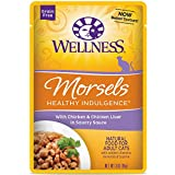 Wellness Healthy Indulgence Natural Grain Free Wet Cat Food, Morsels Chicken & Chicken Liver, 3-Ounce Pouch (Pack Of 24)