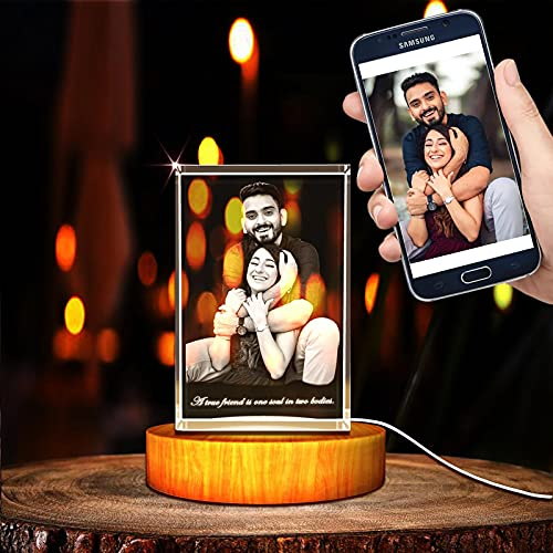 Nsipan Foto de Cristal 3D Personalizada, Cristal Grabado Personalizado con Imagen, Memorable...