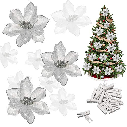 Whaline 24Pcs Silver Poinsettia Artificial Christmas Flowers with 24 Pack Clips, Glitter Christmas Tree Ornaments Xmas Wedding Party Decor (13 x 13 cm)