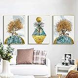 Póster de arte 3 piezas 30x50 cm sin marco arte dorado ciervo árbol cuadro de pared póster e impresiones para el diseño del hogar decoración estética de la habitación pintura de arte minimalista